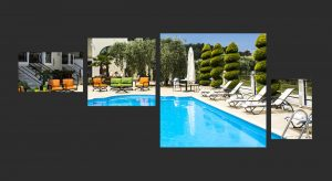 The Mary An boutique apartments in Thassos swimming pool surrounded by sun loungers.